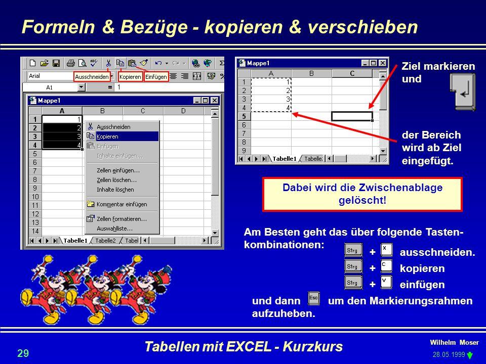 Wilhelm Moser 28.05.1999 Tabellen mit EXCEL - Kurzkurs 29 und dann um den Markierungsrahmen aufzuheben. + kopieren + einfügen + ausschneiden. Formeln