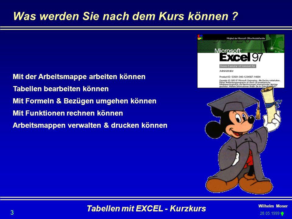 Wilhelm Moser 28.05.1999 Tabellen mit EXCEL - Kurzkurs 3 Was werden Sie nach dem Kurs können ? Mit der Arbeitsmappe arbeiten können Tabellen bearbeite