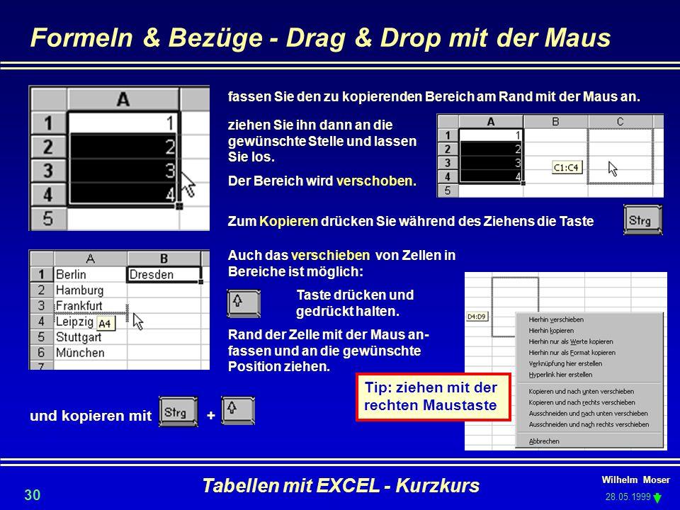 Wilhelm Moser 28.05.1999 Tabellen mit EXCEL - Kurzkurs 30 Formeln & Bezüge - Drag & Drop mit der Maus fassen Sie den zu kopierenden Bereich am Rand mi