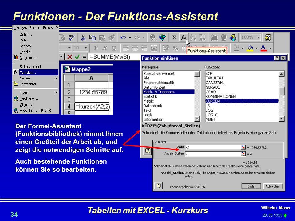 Wilhelm Moser 28.05.1999 Tabellen mit EXCEL - Kurzkurs 34 Funktionen - Der Funktions-Assistent Der Formel-Assistent (Funktionsbibliothek) nimmt Ihnen