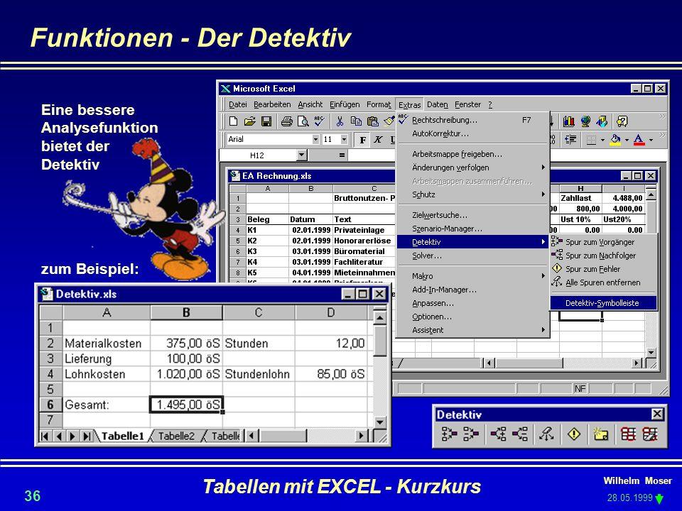 Wilhelm Moser 28.05.1999 Tabellen mit EXCEL - Kurzkurs 36 Funktionen - Der Detektiv Eine bessere Analysefunktion bietet der Detektiv zum Beispiel: