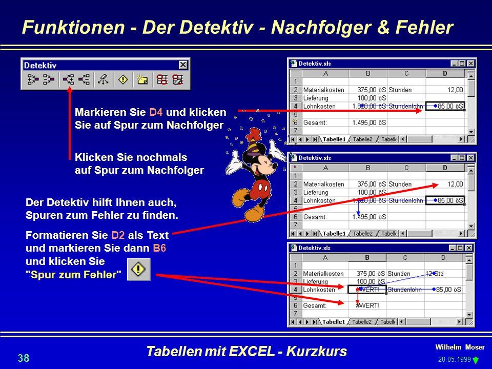 Wilhelm Moser 28.05.1999 Tabellen mit EXCEL - Kurzkurs 38 Funktionen - Der Detektiv - Nachfolger & Fehler Markieren Sie D4 und klicken Sie auf Spur zu
