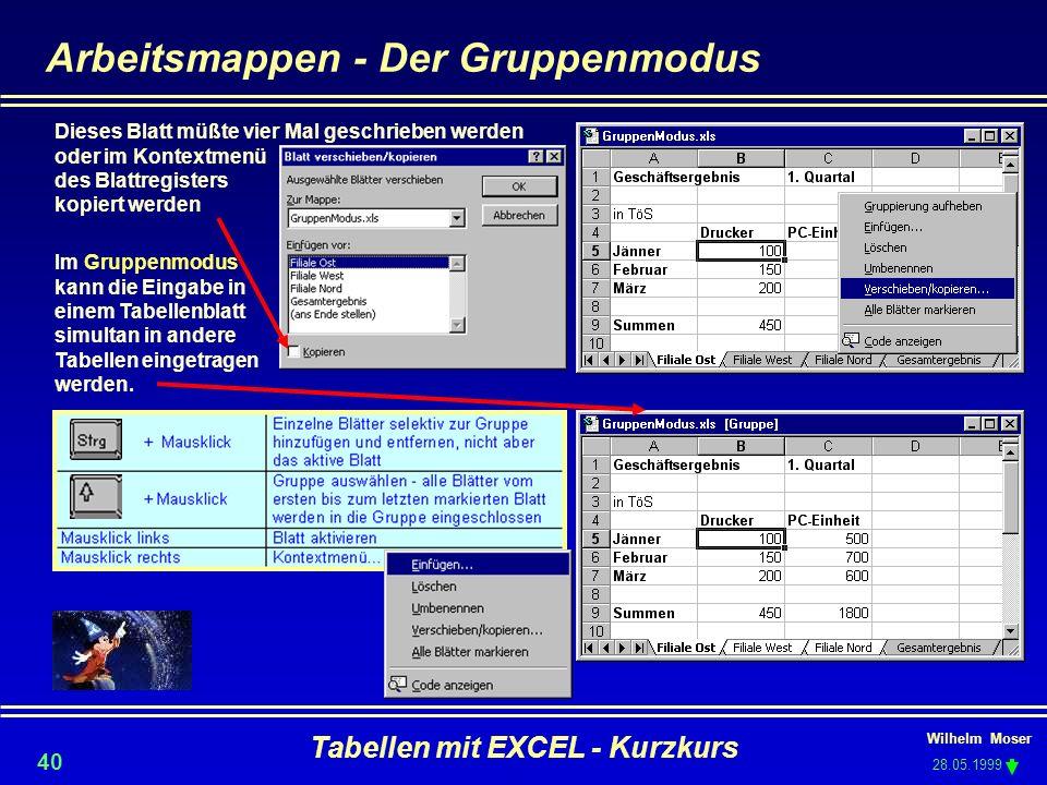 Wilhelm Moser 28.05.1999 Tabellen mit EXCEL - Kurzkurs 40 Arbeitsmappen - Der Gruppenmodus Im Gruppenmodus kann die Eingabe in einem Tabellenblatt sim