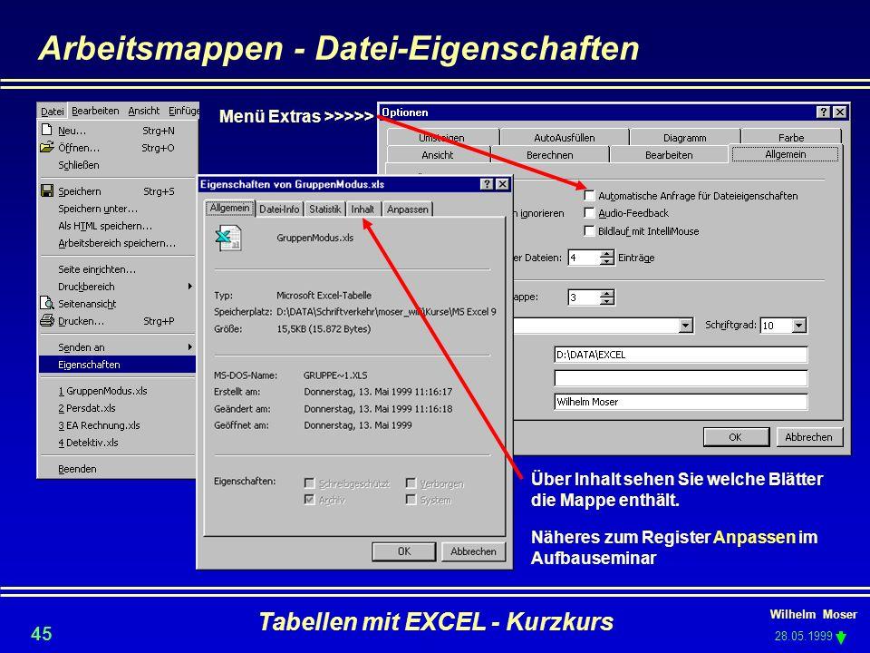 Wilhelm Moser 28.05.1999 Tabellen mit EXCEL - Kurzkurs 45 Arbeitsmappen - Datei-Eigenschaften Menü Extras >>>>> Über Inhalt sehen Sie welche Blätter d
