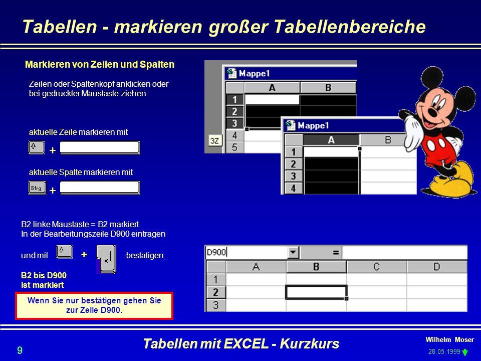 Wilhelm Moser 28.05.1999 Tabellen mit EXCEL - Kurzkurs 9 aktuelle Spalte markieren mit + Tabellen - markieren großer Tabellenbereiche Markieren von Ze