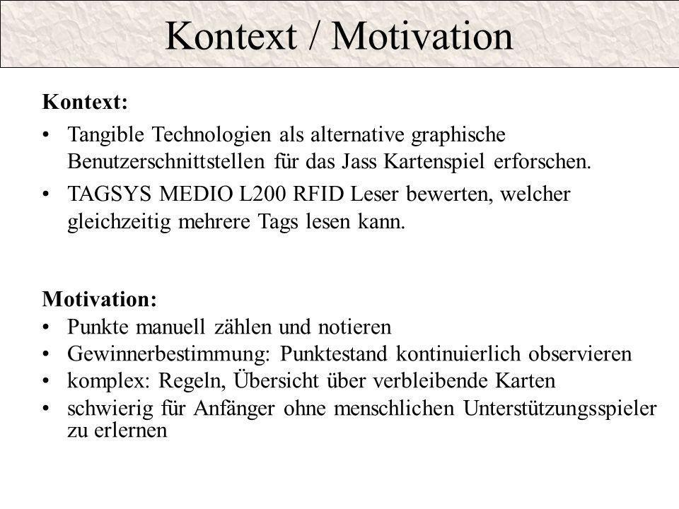 Kontext / Motivation Motivation: Punkte manuell zählen und notieren Gewinnerbestimmung: Punktestand kontinuierlich observieren komplex: Regeln, Übersi