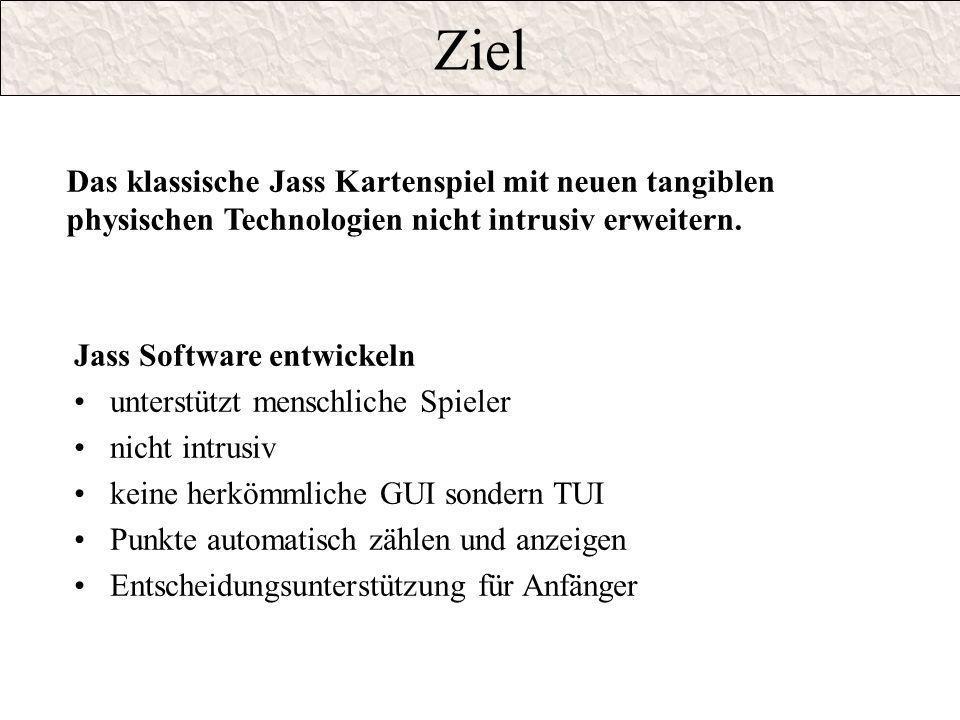 Ziel Jass Software entwickeln unterstützt menschliche Spieler nicht intrusiv keine herkömmliche GUI sondern TUI Punkte automatisch zählen und anzeigen