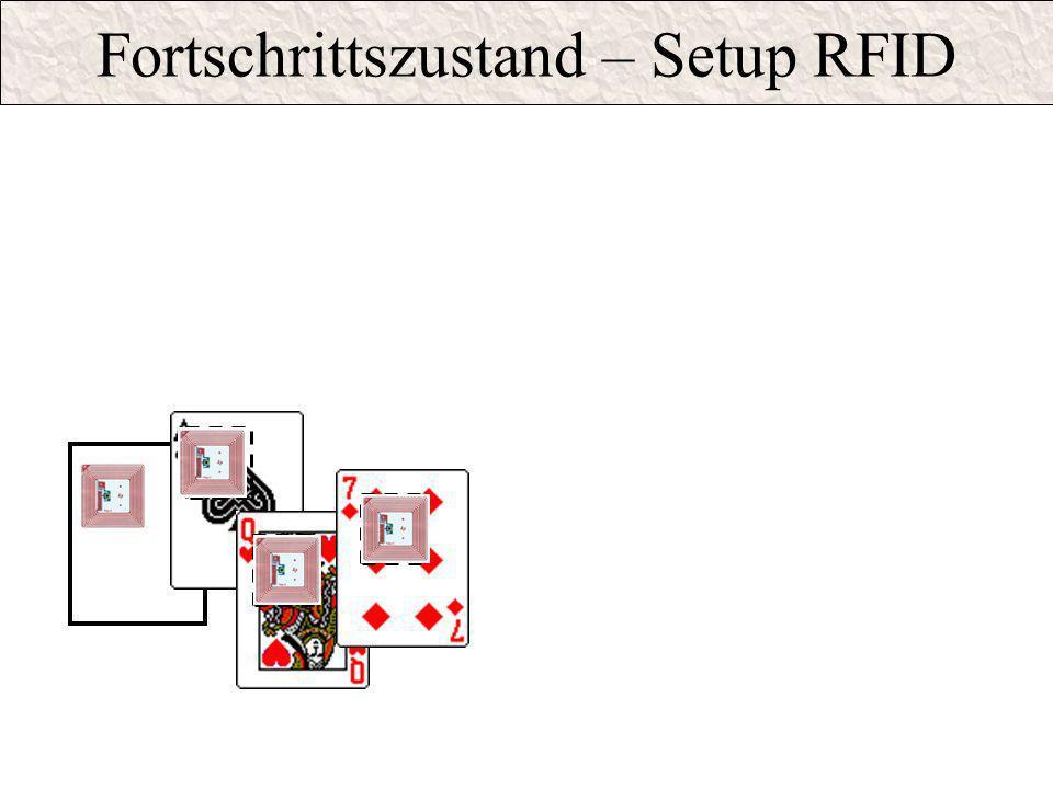 Fortschrittszustand – Setup RFID PIK 10 quits sensor range KARO KING quits sensor range HEART JACK quits sensorrange HEART JACK and KARO KING in senso
