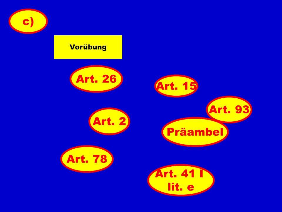 Art. 2 Art. 93 Art. 41 I lit. e Art. 26 Vorübung c) Art. 15 Art. 78 Präambel