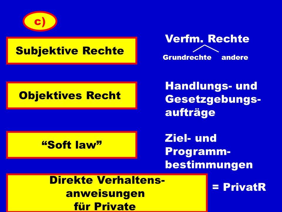 Verfm. Rechte c) Subjektive Rechte Grundrechteandere Objektives Recht Soft law Direkte Verhaltens- anweisungen für Private Handlungs- und Gesetzgebung