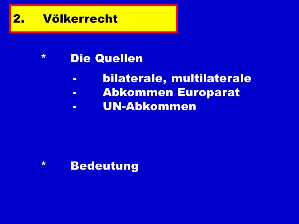 2.Völkerrecht * Die Quellen *Bedeutung - bilaterale, multilaterale - Abkommen Europarat - UN-Abkommen