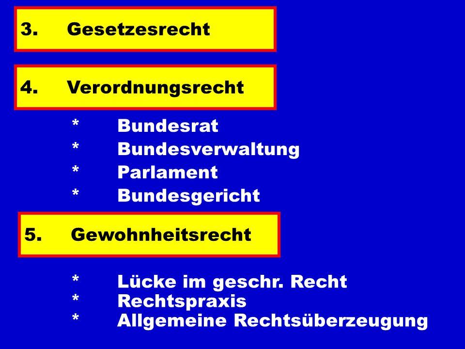 3.Gesetzesrecht 4.Verordnungsrecht * Bundesrat * Bundesverwaltung * Parlament 5.Gewohnheitsrecht * Lücke im geschr. Recht * Rechtspraxis * Allgemeine