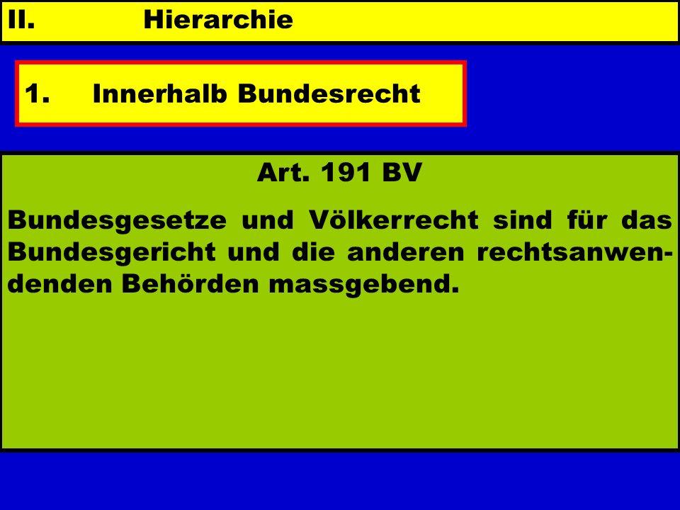 II. Hierarchie 1.Innerhalb Bundesrecht - Ratio Bundesverfassung Bundesgesetz Verordnung 191 BV - Geltungsber. - Relativierung Art. 191 BV Bundesgesetz