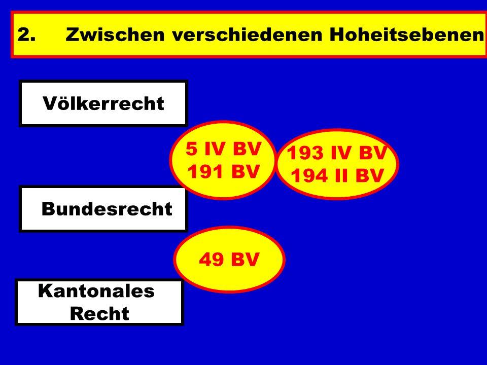2.Zwischen verschiedenen Hoheitsebenen Völkerrecht Bundesrecht Kantonales Recht 5 IV BV 191 BV 193 IV BV 194 II BV 49 BV