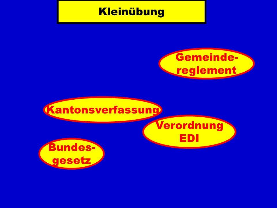 Kleinübung Kantonsverfassung Verordnung EDI Bundes- gesetz Gemeinde- reglement