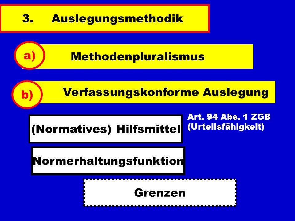 3.Auslegungsmethodik Methodenpluralismus a) Verfassungskonforme Auslegung b) Art. 94 Abs. 1 ZGB (Urteilsfähigkeit) (Normatives) Hilfsmittel Normerhalt