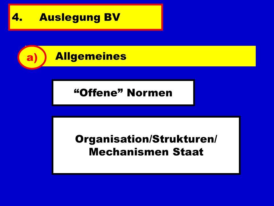 4.Auslegung BV Allgemeines a) Offene Normen Organisation/Strukturen/ Mechanismen Staat