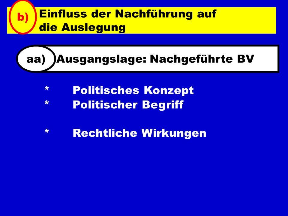 * Politisches Konzept * Politischer Begriff * Rechtliche Wirkungen Einfluss der Nachführung auf die Auslegung b) Ausgangslage: Nachgeführte BVaa)