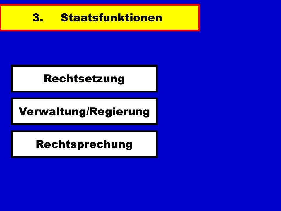 3.Staatsfunktionen Rechtsetzung Verwaltung/Regierung Rechtsprechung