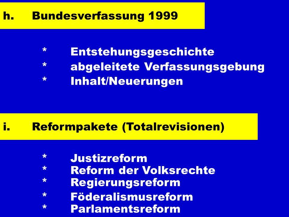 * Entstehungsgeschichte * abgeleitete Verfassungsgebung * Inhalt/Neuerungen h.Bundesverfassung 1999 i.Reformpakete (Totalrevisionen) * Justizreform *