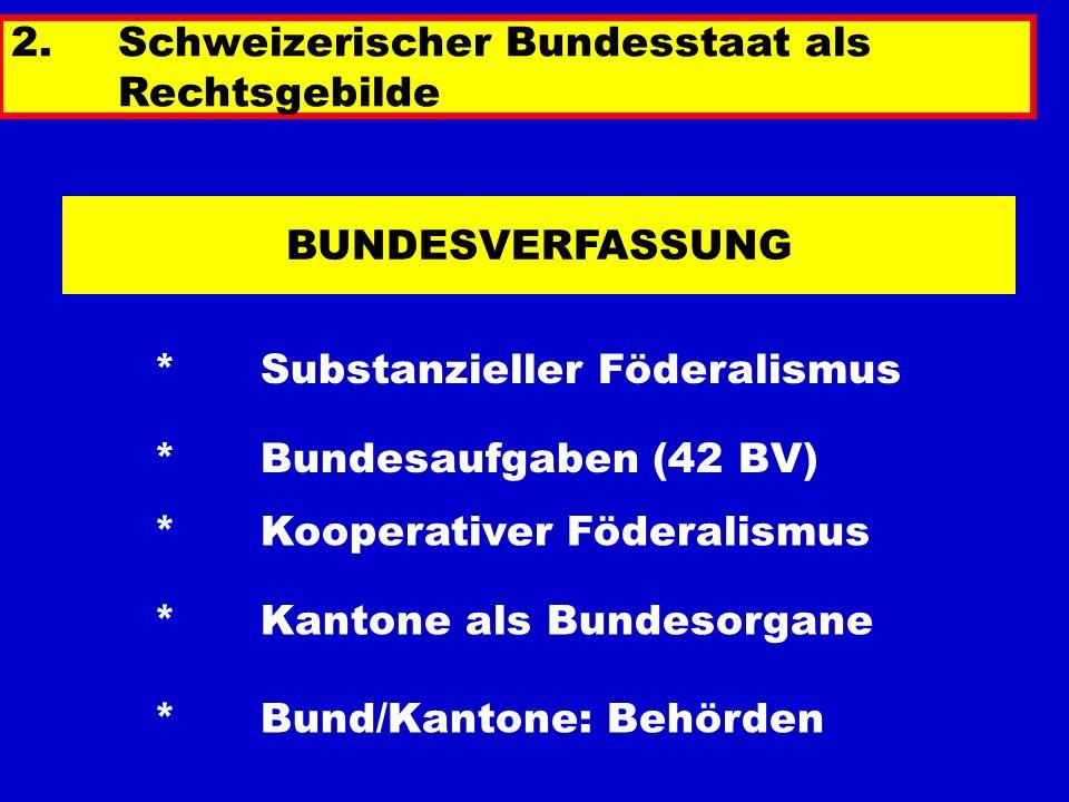BUNDESVERFASSUNG * Substanzieller Föderalismus *Bundesaufgaben (42 BV) * Kantone als Bundesorgane * Bund/Kantone: Behörden 2.Schweizerischer Bundessta