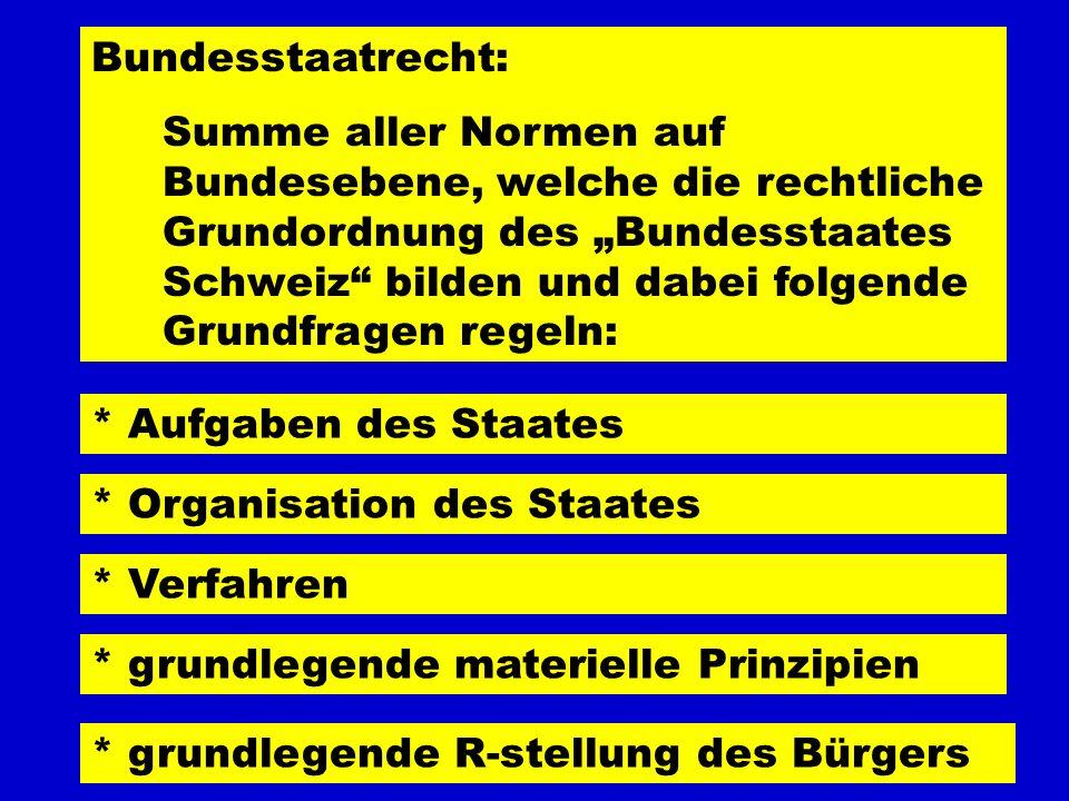 Bundesstaatrecht: Summe aller Normen auf Bundesebene, welche die rechtliche Grundordnung des Bundesstaates Schweiz bilden und dabei folgende Grundfrag