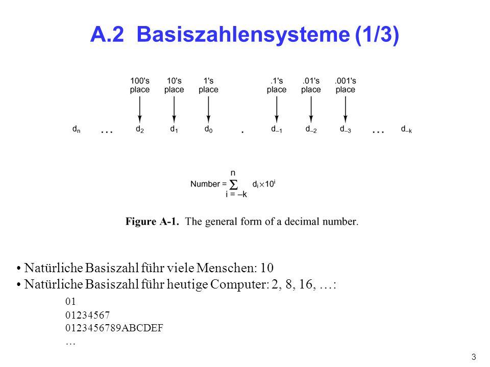 3 A.2 Basiszahlensysteme (1/3) Natürliche Basiszahl führ viele Menschen: 10 Natürliche Basiszahl führ heutige Computer: 2, 8, 16, …: 01 01234567 01234