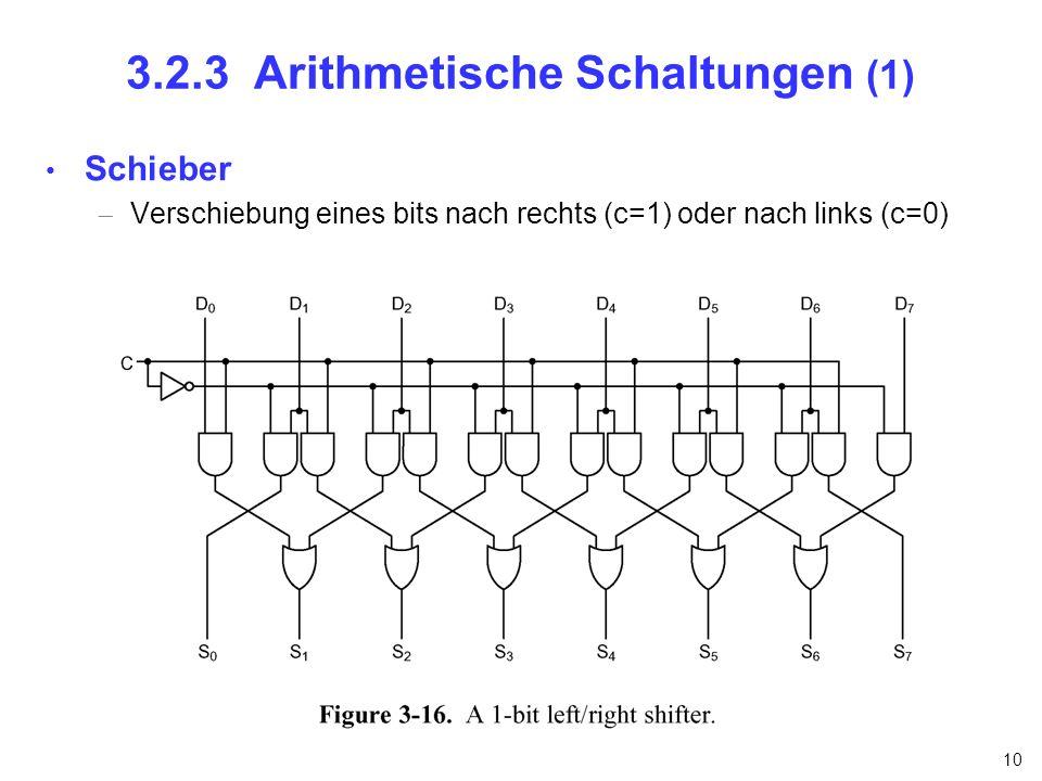 10 3.2.3 Arithmetische Schaltungen (1) Schieber Verschiebung eines bits nach rechts (c=1) oder nach links (c=0)
