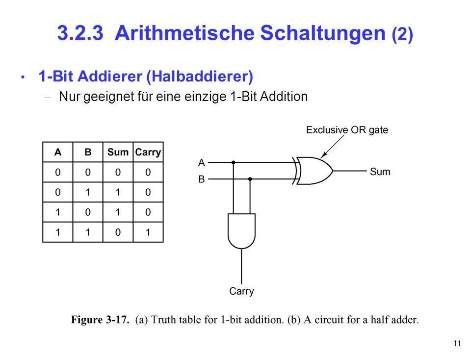 11 3.2.3 Arithmetische Schaltungen (2) 1-Bit Addierer (Halbaddierer) Nur geeignet für eine einzige 1-Bit Addition