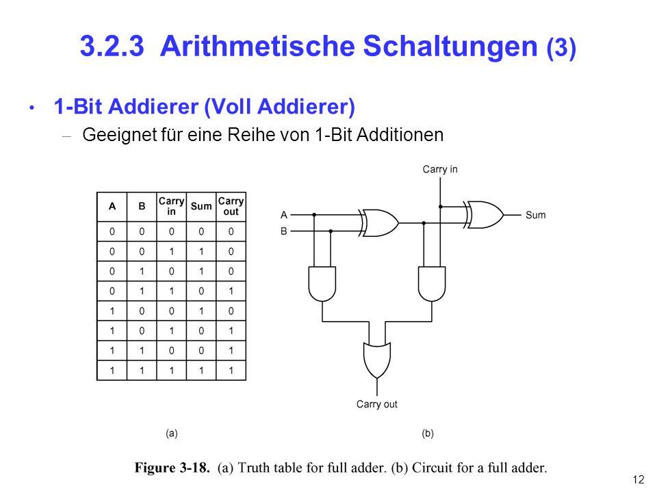 12 3.2.3 Arithmetische Schaltungen (3) 1-Bit Addierer (Voll Addierer) Geeignet für eine Reihe von 1-Bit Additionen