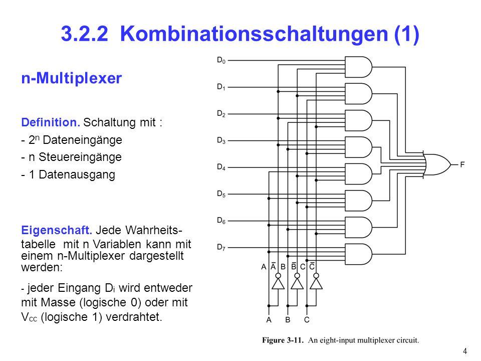 4 3.2.2 Kombinationsschaltungen (1) n-Multiplexer Definition. Schaltung mit : - 2 n Dateneingänge - n Steuereingänge - 1 Datenausgang Eigenschaft. Jed