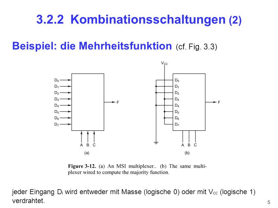 5 3.2.2 Kombinationsschaltungen (2) Beispiel: die Mehrheitsfunktion (cf. Fig. 3.3) jeder Eingang D i wird entweder mit Masse (logische 0) oder mit V c