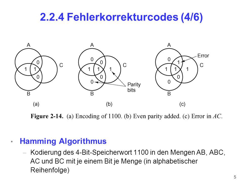 6 2.2.4 Fehlerkorrekturcodes (5/6) Hamming Algorithmus (wiederbesucht) Kodierung des 4-Bit-Speicherwort 1100 in den Mengen AB, AC, BC und ABC mit je einem Bit 1 11 error A B C 1 1 0 0 0 A B C 1 1 0 0 A B C 1 0 0 0 Fehler Paritätsbit
