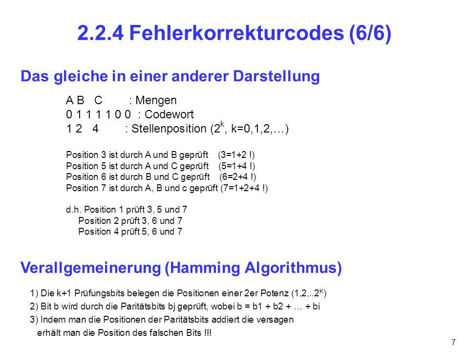 7 2.2.4 Fehlerkorrekturcodes (6/6) Das gleiche in einer anderer Darstellung A B C : Mengen 0 1 1 1 1 0 0 : Codewort 1 2 4 : Stellenposition (2 k, k=0,1,2,…) Position 3 ist durch A und B geprüft (3=1+2 !) Position 5 ist durch A und C geprüft (5=1+4 !) Position 6 ist durch B und C geprüft (6=2+4 !) Position 7 ist durch A, B und c geprüft (7=1+2+4 !) d.h.