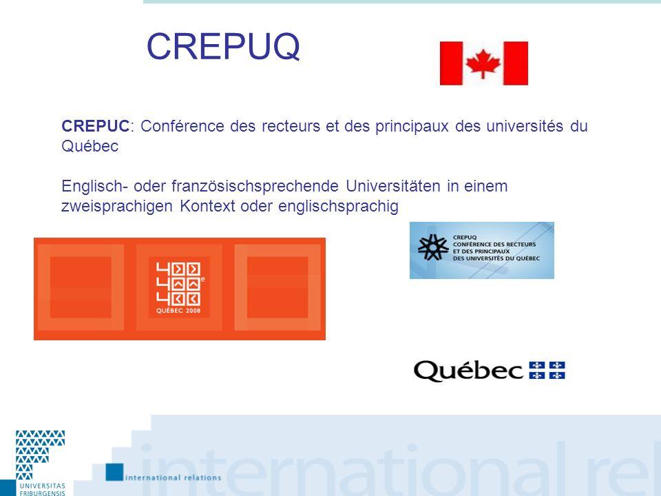 CREPUQ CREPUC: Conférence des recteurs et des principaux des universités du Québec Englisch- oder französischsprechende Universitäten in einem zweispr