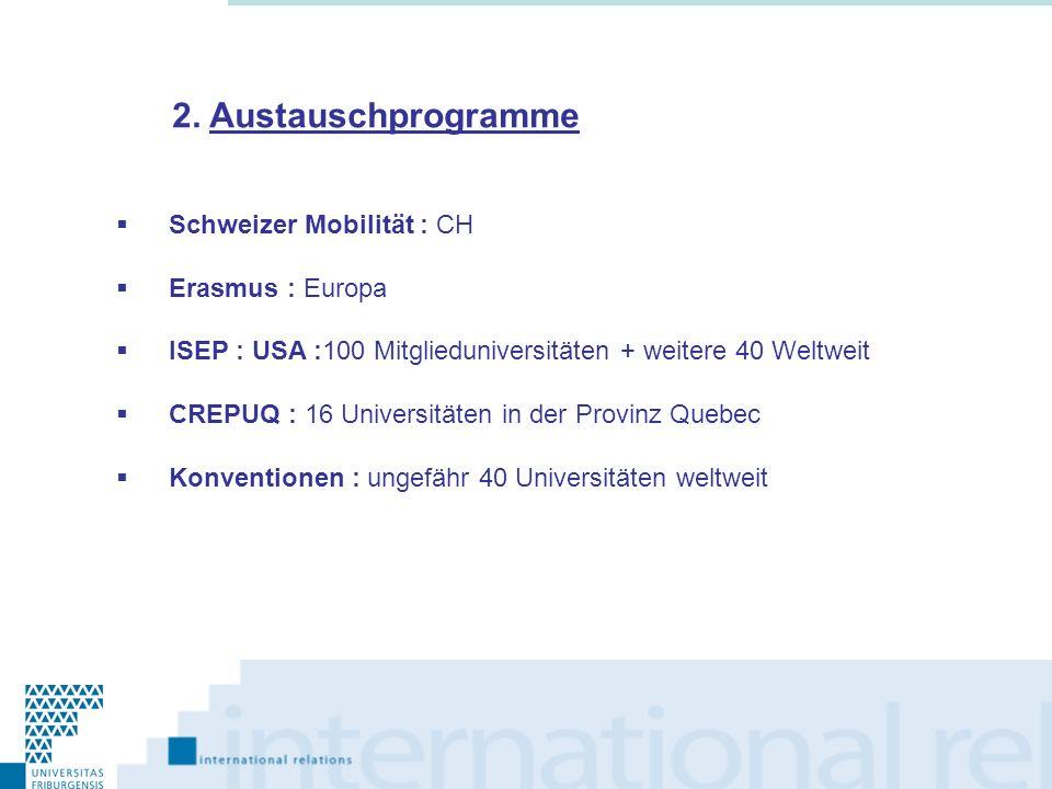 Schweizer Mobilität : CH Erasmus : Europa ISEP : USA :100 Mitglieduniversitäten + weitere 40 Weltweit CREPUQ : 16 Universitäten in der Provinz Quebec