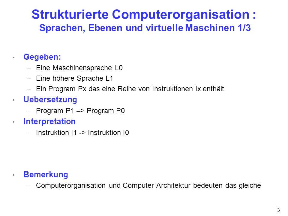 3 Strukturierte Computerorganisation : Sprachen, Ebenen und virtuelle Maschinen 1/3 Gegeben: Eine Maschinensprache L0 Eine höhere Sprache L1 Ein Progr