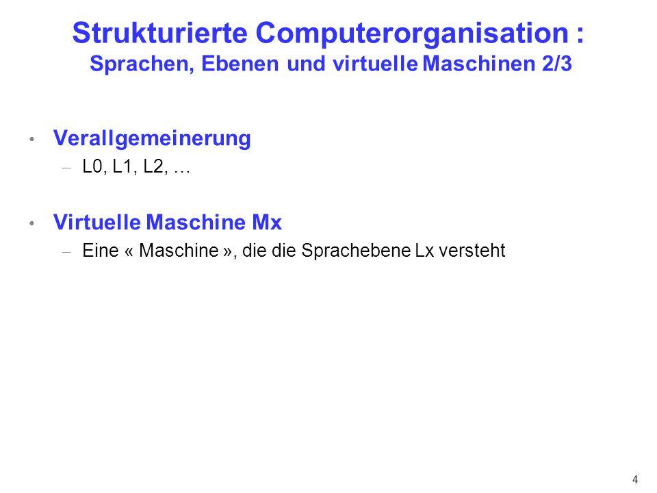 4 Strukturierte Computerorganisation : Sprachen, Ebenen und virtuelle Maschinen 2/3 Verallgemeinerung L0, L1, L2, … Virtuelle Maschine Mx Eine « Masch