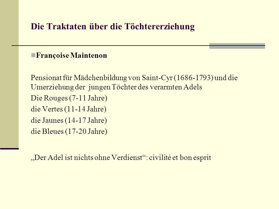 Die Traktaten über die Töchtererziehung Françoise Maintenon Pensionat für Mädchenbildung von Saint-Cyr (1686-1793) und die Umerziehung der jungen Töch