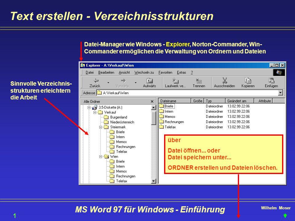 Wilhelm Moser MS Word 97 für Windows - Einführung Text erstellen - Verzeichnisstrukturen Sinnvolle Verzeichnis- strukturen erleichtern die Arbeit Date