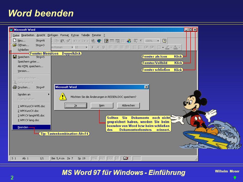 Wilhelm Moser MS Word 97 für Windows - Einführung Word beenden 20