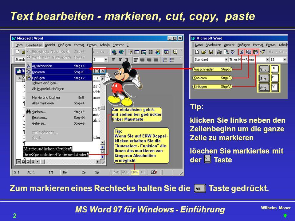 Wilhelm Moser MS Word 97 für Windows - Einführung Text bearbeiten - markieren, cut, copy, paste Tip: klicken Sie links neben den Zeilenbeginn um die g