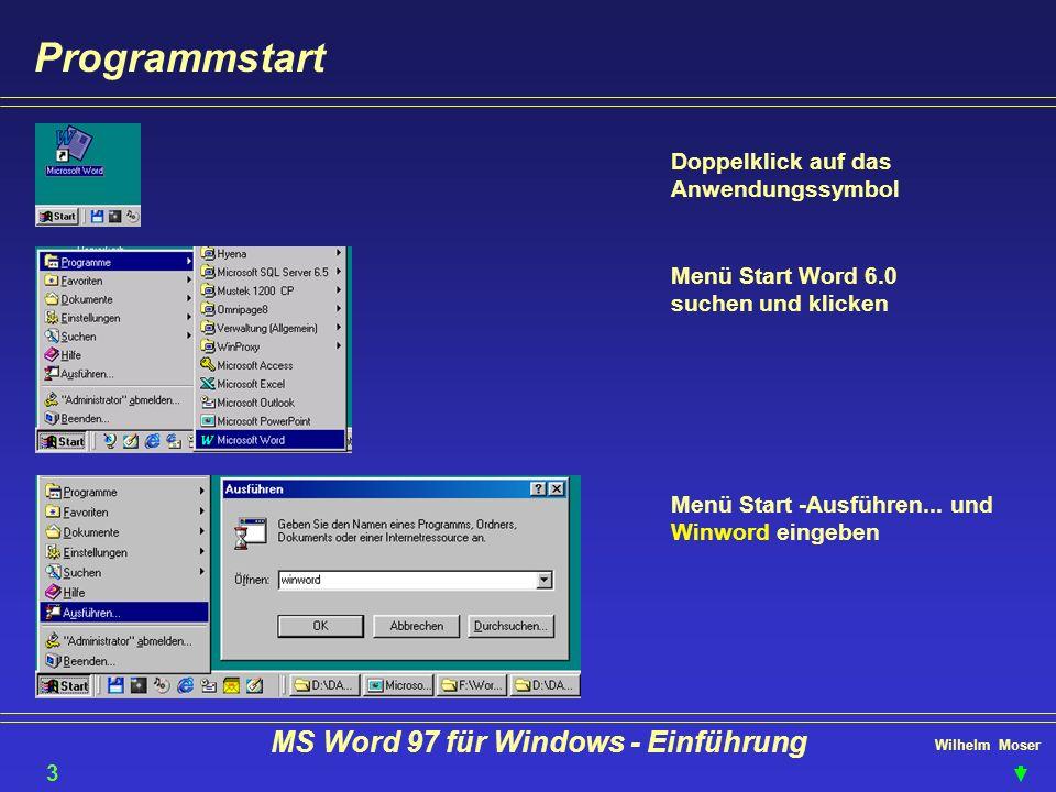 Wilhelm Moser MS Word 97 für Windows - Einführung Text gestalten - Layout - Online-Layout 44 Neue Word 97 Funktion Funktion: eingeben, bearbeiten, formatieren von TEXT Vorteile: Text wird vergrößert angezeigt und auf Fensterbreite umge- brochen Nachteile: Darstellung stimmt nicht mit dem Druck- bild überein Kopf- und Fußzeilen werden nicht angezeigt.