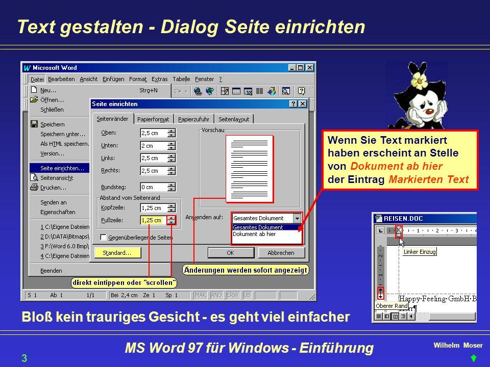 Wilhelm Moser MS Word 97 für Windows - Einführung Text gestalten - Dialog Seite einrichten Wenn Sie Text markiert haben erscheint an Stelle von Dokume