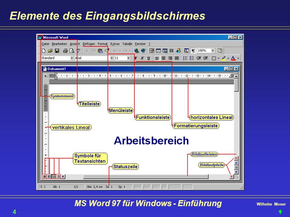 Wilhelm Moser MS Word 97 für Windows - Einführung Text bearbeiten - markieren, cut, copy, paste Tip: klicken Sie links neben den Zeilenbeginn um die ganze Zeile zu markieren löschen Sie markiertes mit der Taste Zum markieren eines Rechtecks halten Sie die Taste gedrückt.