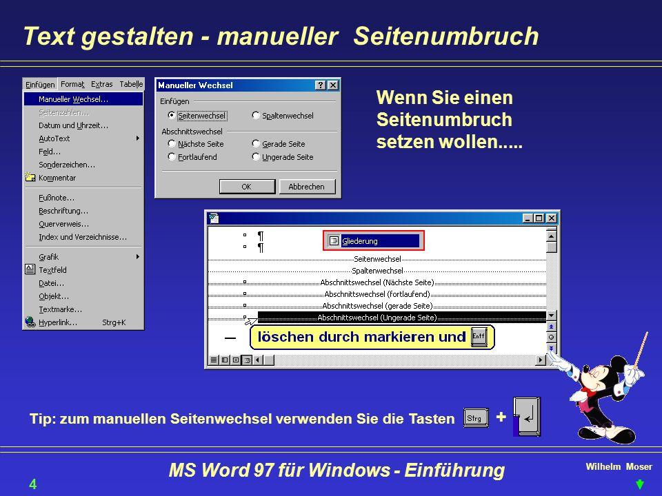 Wilhelm Moser MS Word 97 für Windows - Einführung Text gestalten - manueller Seitenumbruch Wenn Sie einen Seitenumbruch setzen wollen..... Tip: zum ma