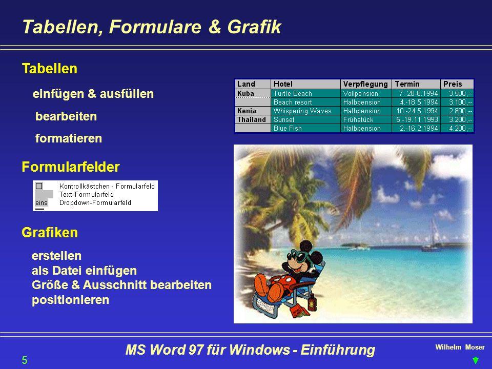 Wilhelm Moser MS Word 97 für Windows - Einführung Tabellen, Formulare & Grafik Tabellen einfügen & ausfüllen bearbeiten formatieren Formularfelder Gra
