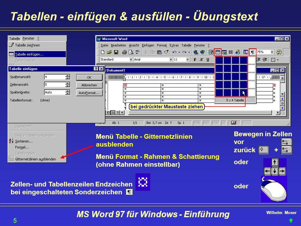 Wilhelm Moser MS Word 97 für Windows - Einführung Tabellen - einfügen & ausfüllen - Übungstext Menü Tabelle - Gitternetzlinien ausblenden Menü Format