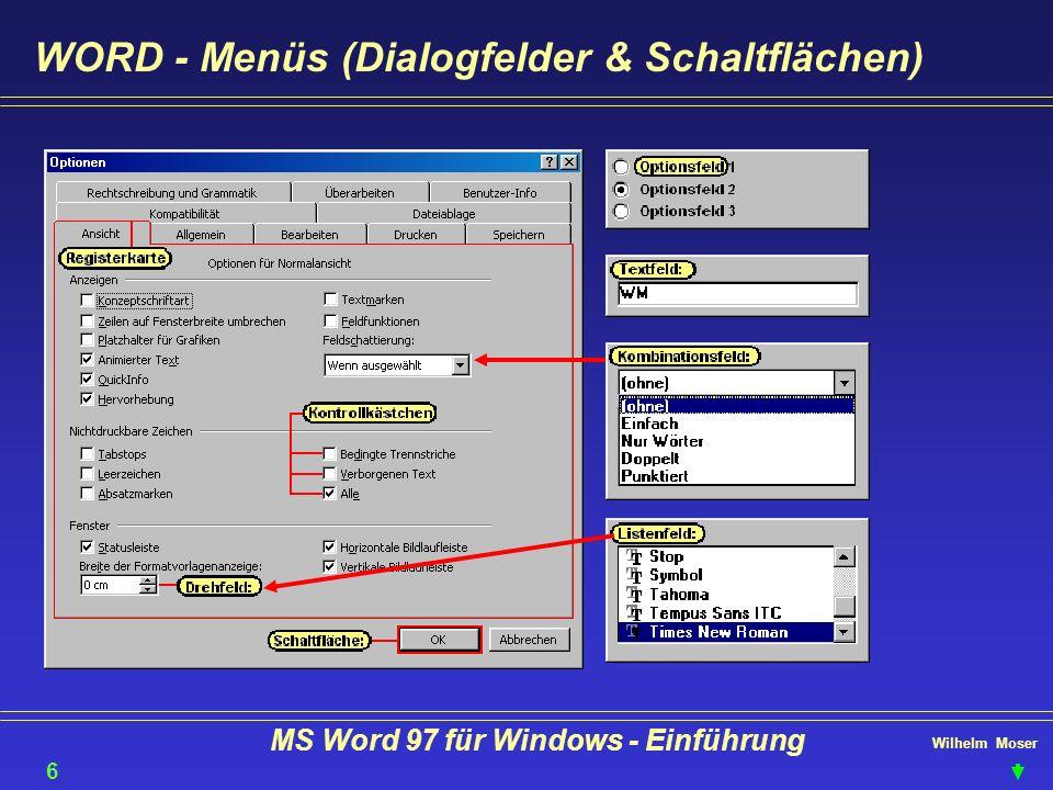 Wilhelm Moser MS Word 97 für Windows - Einführung Die Tastatur Hochgestellte Zeichen oder Großschreibung auf der Tastatur erhalten Sie mit + Taste 7 Feststellen (Großschreibung) können Sie mit Aktion abbrechen Tabulator oder Shift-Tab Tabulator oder Feld vor-zurück + + Zeichen löschen F1 - üblich als Hilfe Umschaltung Cursor/Ziffernfunktionenmeistens programmspezifisch