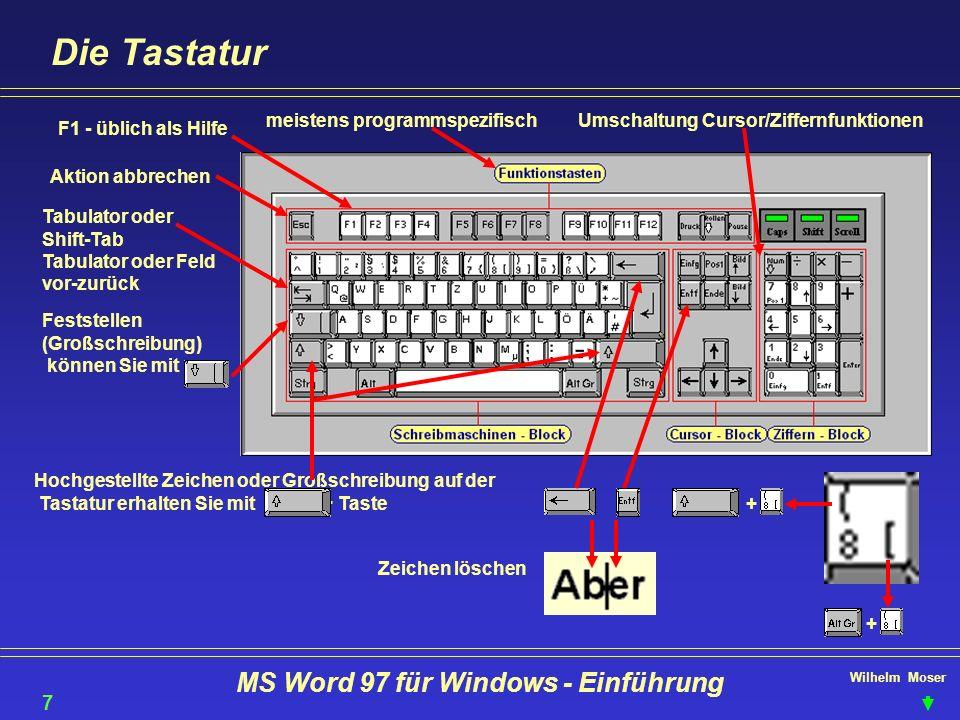 Wilhelm Moser MS Word 97 für Windows - Einführung Die Tastatur Hochgestellte Zeichen oder Großschreibung auf der Tastatur erhalten Sie mit + Taste 7 F